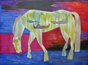 Horse and the river II- 120 X 90 CM- OIL