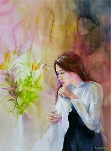Thiếu nữ và hoa Ly