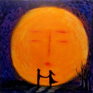 96.Hong Joo,Moonlight dance,Acrylic color on canvas,30x30cm, 2019